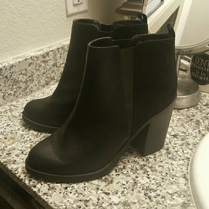 Matte Black and Suede Ankle Booties